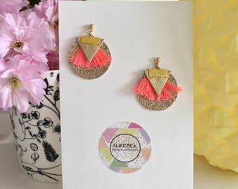 Ines - coral earrings and gold