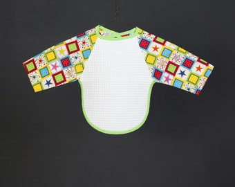 Bib with sleeves - printed Patchwork star