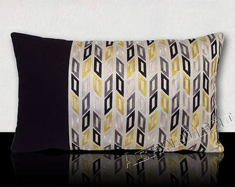 """Cushion """"MONTJOY"""" - Silver/yellow embroidered graphic DESIGNER with gold/black satin on beige background."""