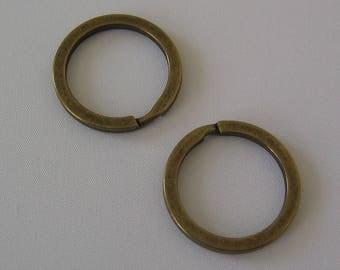 Set of 2 rings Keychain bronze