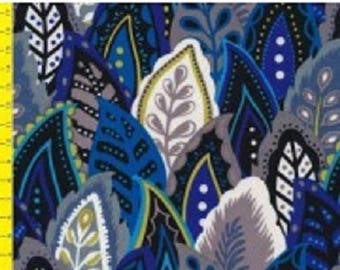 many patchwork fabric leaves ref1123017 blue tone