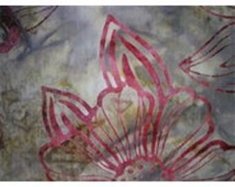 batik patchwork fabric beige batikflbo ref Burgundy flowers