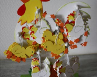 cute chicken with all the accessories to decorate your tree with eggs