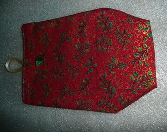 Red leaves fabric gift bag with Holly