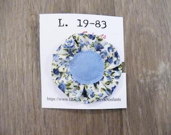 Fabric flower-shaped blue flower hair pin