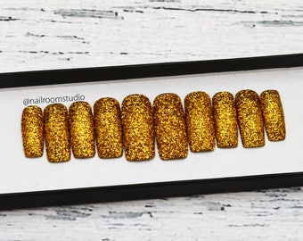 GOLD GLITTER press on nails | structural 3D gold glitter | custom fake nails | hand painted false nails | reusable nail | square coffin oval