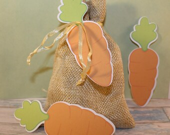 Set of 5 labels in the shape of carrot for Easter cards or scrapbooking embellishments