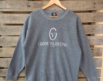Rare! Vintage Gianni Valentino Sweatshirt Big Logo Jumper Pullover 90s L Size Rare Item
