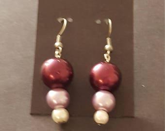Earrings - Drop, Purple, Lilac, White