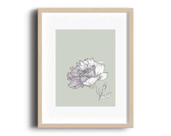 Floral print, wall art, floral wall art, flowers, leaf, pink, green, line art, minimal, modern