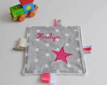 Blanket label hand made star grey and Rose Fushia with name @lacouturebytitia