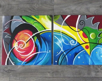 Galaxy made of 2 canvas paintings