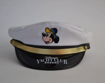"""Vintage Unisex Disney's Yacht Club Resort Captain's Hat with Mickey Mouse Head, Made in the USA by Jacobson Hat, Measures 21.5"""""""