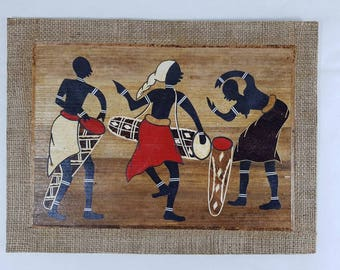 African Celebrations Fiber Art, Wall Art, African Art, African Drum, African music, Fiber Art.