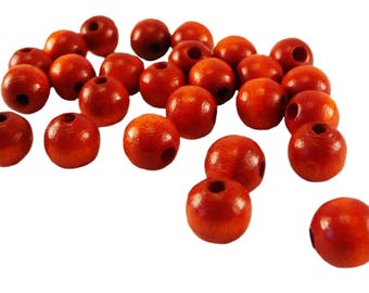 wood - d8mm - 230 beads orange