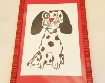 THE original dalmachien! framed original drawing! drawing by kids for kids!