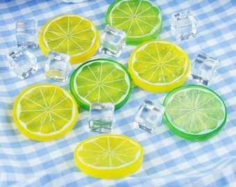 2pcs Artificial Lemon Slides / Artificial Fruits / Photography Props / Food Photography Props / Fake Food Props (AF10)