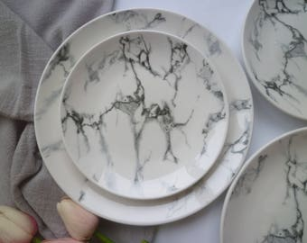 2pcs Marble Ceramic Plate / Dinner Plate / Pottery Plate / Side Plate / Stoneware Plate / Tableware / Food Photography / CP7