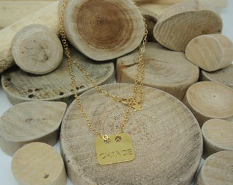 """Gold """"Rectangle luck"""" necklace"""