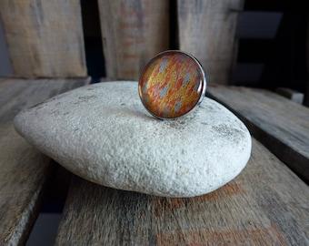 Orange abstract pattern ring 20mm-