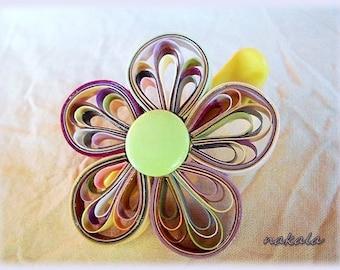 PROMO unique hair barrette clip varnished paper flower child