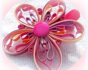 unique hair barrette clip varnished paper flower child