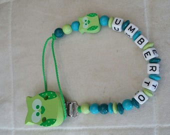 Lime green OWL themed pacifier