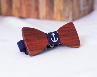 Navy Anchor Wooden Bow Tie