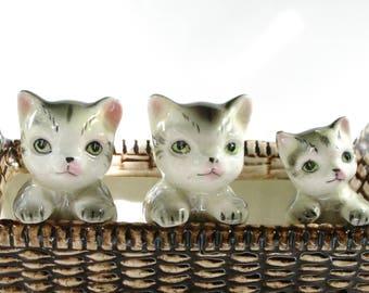 Vintage Cat Planter, Kittens in a Basket, Retro Pottery, Vintage Planter, Cat Lovers, Cat Collectors