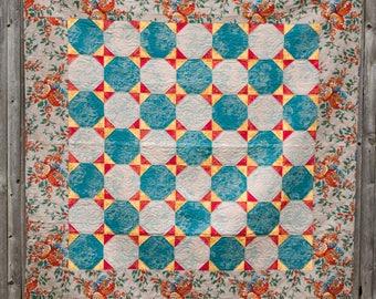 Turquoise Snowballs - Machine Quilted Quilt