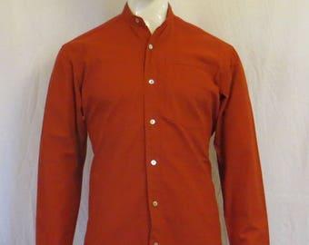 shirt sleeve cotton long Mandarin collar
