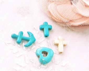 charm stone howlitte, turquoise, cross, anchor heart x 4
