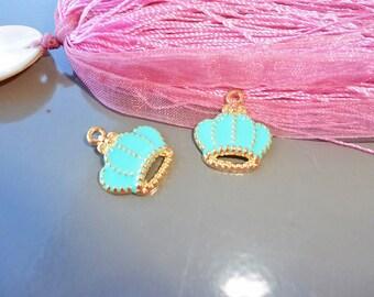 turquoise enameled gold Crown pendant, enamel charm, pendant