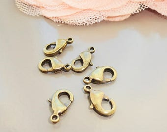 10 lobster clasp antique bronze 13mm