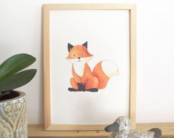 Woodland watercolor illustration - wall decor bedroom kids - Fox print