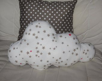 Shape - stars - white cloud pillow, taupe and red.