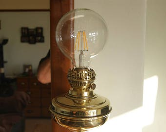 One Off Antique Brass Oil Lamp Conversion
