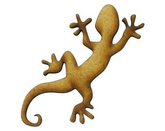 Cut out of MDF wood - shaped small Gecko 5.7 x 2.8 cm.