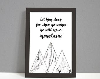 Let Him Sleep Monochrome Marble Nursery Print