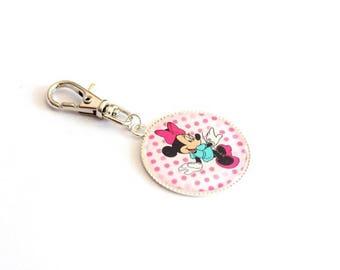 "Tirrette grigri ""Minnie"" pink coat zip case school bag or keychain"