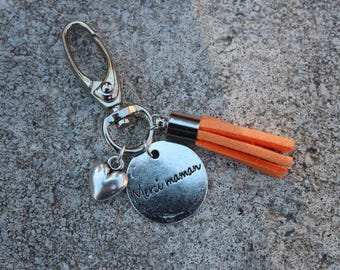 "Keychain Locket grigri ""thank you MOM"" with orange tassel and heart charm"