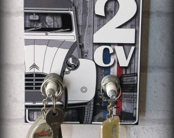 "Vintage ""my garage 2CV"" Citroen wall key hook"