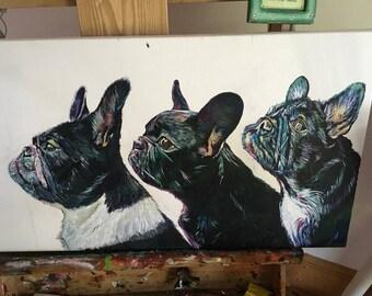 """Long 36"""" x 14"""" Pet Portrait canvas painting"""