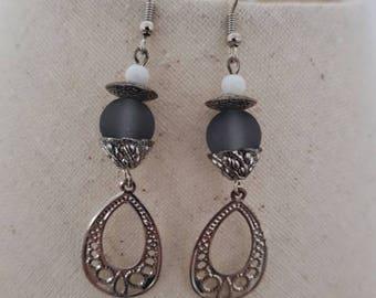 Earrings hook and silver metal, prints filigree, glass Pearl bead gray