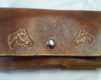 horse head leather cell phone case