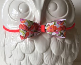 Bright Floral Nylon Toddler or Baby Headband / Hot Pink / Floral Print / White Floral / Orange / Multi Color Floral / Bow / Or Clip