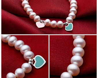 Natural freshwater pearl bracelet, 925 silver, pearl 8mm