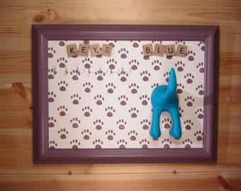 Paw printed Key and Dog Lead Hook, hand made, key holder, key Plaque, key rack available in any colour and any size