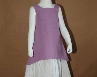What if... Summer dress in purple cotton, white cotton petticoat