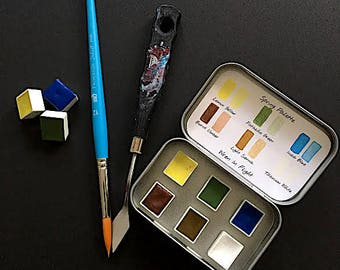 Handmade Watercolor Paint - Natural Earth Pigments - Spring Palette - Six half pans
